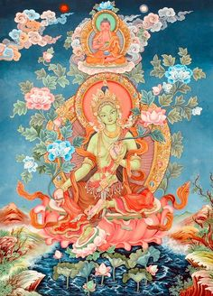 "In Tibetan Buddhism, om tare tuttare ture soha is an ancient mantra that is related to Tara, the ""Mother of all Buddhas,"" and especially to her manifestation as Green Tara. Buddha Kunst, Buddha Art, Tibetan Art, Tibetan Buddhism, Buddhism Symbols, Thangka Painting, Painting Art, Triangle Art, Tatoo"