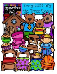 This 30-piece set is full of images and characters from the story, Goldilocks and the Three Bears! Included are 15 vibrant, colored images and 15 black and white versions (not shown in the preview). $