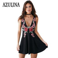 Find More Dresses Information about AZULINA 2016 Summer Vintage Floral Embroidery Dress Women Sleeveless Deep V Neck A Line Mini Dress Little Black Leisure Sundress,High Quality dress mesh,China dresse Suppliers, Cheap dresses prom dress from Azulina Store on Aliexpress.com