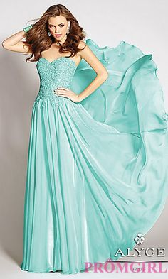 Chiffon Strapless Sweetheart Dress by Alyce at PromGirl.com