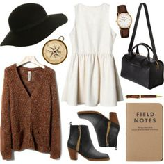 a cute dress, over sized cardigan, floppy hat and boots
