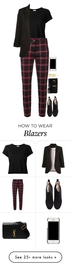 """Untitled #2085"" by r-redstall on Polyvore featuring RE/DONE, Cambio, Ganni, Yves Saint Laurent and Ray-Ban"