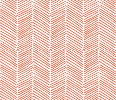 Coral Herringbone Fabric