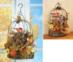 Harvest Birdcage Fall Floral Decoration
