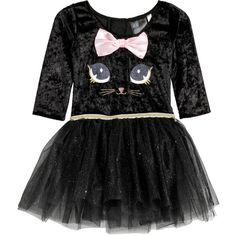 Dance Dress with Tulle Skirt $29.99 ($30) ❤ liked on Polyvore featuring dresses, polish dress, long sleeve dress, applique dress, cat print dresses and long sleeve jersey