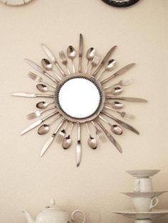 A Starburst Mirror using silverware. DIY