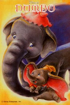 JUMBO & DUMBO ~ Dumbo, ~ Dumbo is a baby elephant born with oversized ears and a supreme lack of confidence. But thanks to his even more diminutive buddy -- Timothy the Mouse -- the pint-sized pachyderm learns to surmount all obstacles. Disney Movie Posters, Film Disney, Disney Art, Disney Pixar, Dumbo Disney, Pixar Movies, Kid Movies, Family Movies, Comedy Movies