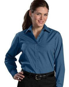 Ladies Broadcloth Shirt, Adjustable cuff, 3.5-oz blend, adjustable cuff, 8-colors, XXS-Plus Size 3XL. Free shipping, custom logo embroidery True to Size Apparel