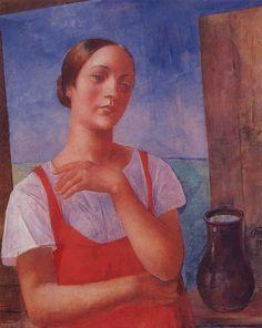 1928 THE GIRL IN RED SARAFAN, Kuzma Petrov-Vodkin (1878~1939)