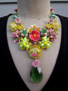 Vintage Flower Necklace, Statement Necklace, Bib Necklace - Neon. $179.00, via Etsy.