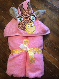 Ready to Ship Pink Giraffe Hooded Towel - Infant, Toddler, Baby Girl