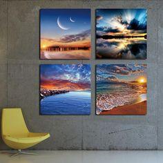 4 Panel Modern Sea Wave Painting Pictures Homd Decor Cuadros Wall Art Ocean Sunset Painting Canvas Prints Unframed #walldecor #interiordesigner #homedecor #wallartprints #artdecor #artprint #canvasphotoprints #wallartdecor #wallpainting