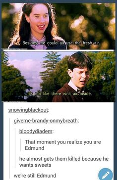 From Chronicles of Narnia! I think we're all Edmund sometimes haha Funny Shit, The Funny, Funny Stuff, Funny Things, My Tumblr, Tumblr Funny, Funny Quotes, Funny Memes, Jokes