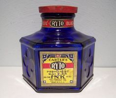 CARTER'S COBALT 4 OZ. RYTO INK BOTTLE w/Labels