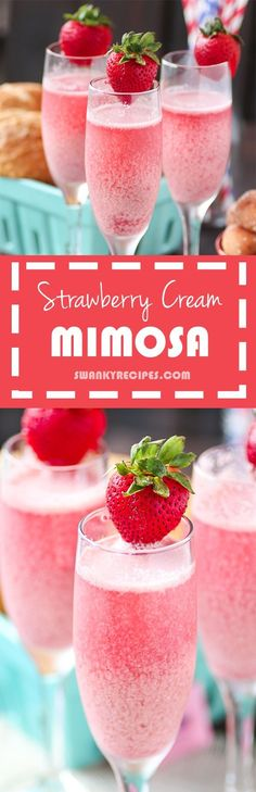 strawberry cream mimosa Mimosa Brunch, Mimosa Breakfast, Mimosa Bar, Brunch Party, Tea Party, Girls Night Recipes, Girls Night Food, Girl Night, Girls Night Drinks