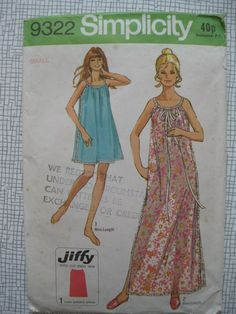 1971 Nightgown - Small - Simplicity 9322 Sewing Pattern