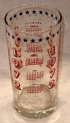 Vintage 1972 CALENDAR Glass Drinking Glass by JewelsThings on Etsy, $12.95