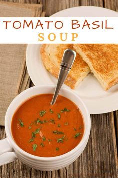 Tomato-Basil Soup: An easy recipe for deliciously flavorful tomato soup made with a combination of plum tomatoes, tomato juice and a generous quantity of fresh basil. Korma, Biryani, Healthy Recipes, Cooking Recipes, Yummy Recipes, Tasty Recipe, Healthy Soup, Fall Recipes, Recipies