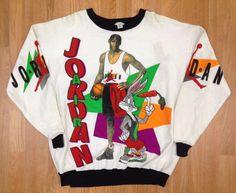 2422452b72a6 Vintage Deadstock Michael Jordan Jordans Hare 7 Crewneck Sweatshirt Space  Jam J in Clothing