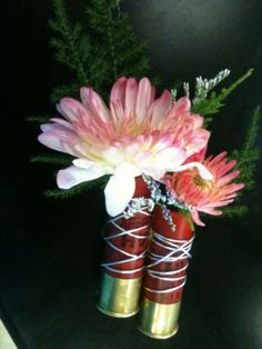 Shotgun shell boutonnieres, LOVE this!