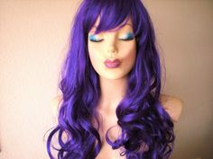 Halloween Special Purple wig. Lavender color Curly by kekeshop