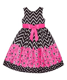 This American Princess Black & Pink Floral Chevron A-Line Dress - Toddler & Girls by American Princess is perfect! Toddler Girl Dresses, Girls Dresses, Toddler Girls, Summer Dresses, Black White Stripes, Pink White, Hot Pink, Striped Wedding, Cute Girl Outfits