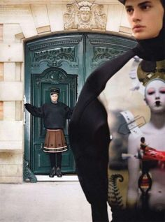 The Chinese GQ magazine has released its latest editorial featuring two male models posing as  the Queen's royal guards outside the palace.