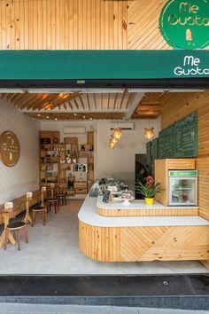 35 Ideas For Exterior Design Shop Decor Small Restaurant Design, Decoration Restaurant, Restaurant Interior Design, Small Cafe Design, Coffee Bar Design, Coffee Shop Interior Design, Cafe Restaurant, Juice Bar Design, Deco Cafe