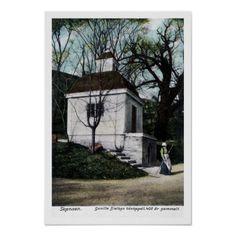 Vintage ca 1900 Skansen Sweden chapel Poster