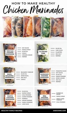 Six healthy chicken marinade recipes for easy dinners. These marinades are delic. - Six healthy chicken marinade recipes for easy dinners. These marinades are delicious and healthy an - Healthy Meal Prep, Healthy Snacks, Dinner Healthy, Healthy Freezer Meals, Health Dinner, Eating Healthy, Healthy Family Meals, Healthy Cheap Meals, Healthy Lunch Ideas