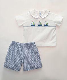 Look at this #zulilyfind! White Nautical Smocked Top & Blue Shorts - Infant, Toddler & Boys #zulilyfinds