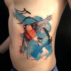 Bullfinch Side Tattoo | Tattoo Ideas