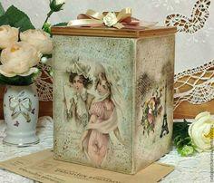 "Baskets, boxes handmade. Fair Masters - handmade. Buy a box of sweets ""Parisian ladies."" Handmade. Beige"