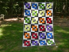 Rainbow Squares Bento Box Quilt with Plaid by JewelweedQuilts, $130.00
