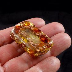 Orgone Energy Generator Pocket Size .. Tibetan Crystal, Phenacite, Baltic Amber, Rhodizite, Copper Nuggets, Shungite, Gold Leaf   (89)