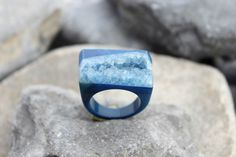 Druzy agate ring carved blue gemstone all stone chunky unique hand made us 7.75    eBay