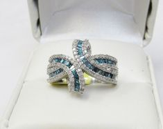 Unique Modern Real 1 Carat Blue Baguette Diamond Fine Fashion Ring Silver Sz 9 #Cocktail #Dress