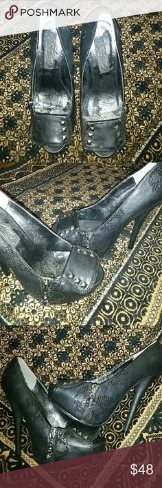 Black Gothic open toe platform pumps Never worn but have some peeling from being stored (see last pictures). Goth like pumps have many cute details like sequin skulls all over, metal studs, skull zipper on the side. Super cute just not my style anymore. Iron Fist Shoes Platforms