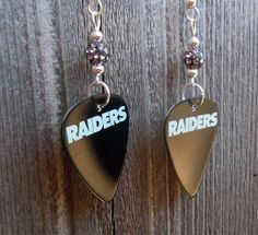 Oakland Raiders Guitar Picks with Gray Pave Beads by ItsYourPick on Etsy
