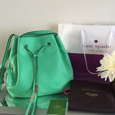"""Kate Spade bucket bag NO TRADES ️️ % Authentic‼️ Definitely not understated. Great pop of color livens up any wardrobe. Lime color. BNWOT   Pebbled Leather Approx. 13"""" x 11"""" x 6"""". Adjustable strap for shoulder or crossbody wear. Drawstring Closure Interior zip pocket and 2 slip pockets. Fabric Lining. Gold Tone Hardware. Will include dust bag. kate spade Bags Crossbody Bags"""