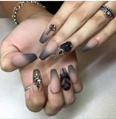 Ombre Nude Skin and Grey Studded Coffin Nails. Another ombre styled coffin nail art design on the list that is equally equipped with style and uniqueness with the sparkle of trend.