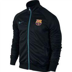 Nike FC Barcelona Core Trainer Jacket Mens 689943-010 Black Blue Jacket  Size L Fc 830caf29662