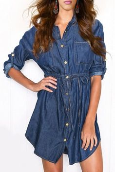Stylish Shirt Collar Long Sleeve Solid Color Denim Women's Shirt Dress