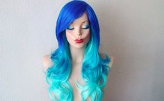 Electric blue / Turquoise wig by kekeshop