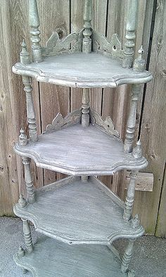 French country style aged corner shelf