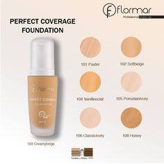 Mira los tonos de nuestra base Perfect Coverage, escoge cuál es el tuyo para tenerlo listo en tu próxima compra.