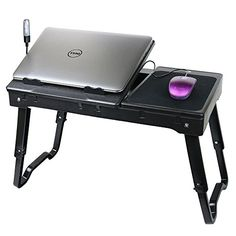 Adjustable Laptop Table Portable Bed Tray Traveling Desktop with Internal Cooling Fan and Built-in LED Light, Black Portable Laptop Desk, Portable Table, Adjustable Laptop Table, Laptop Cooling Fan, Best Macbook, Macbook Pro, Best Deals On Laptops, Bed Tray, Electronic Deals