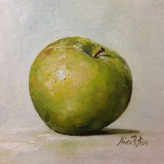Still Life with Granny Smith Green Apple is my original oil painting (not a print) - from the series of small kitchen art paintings 6x6 inches