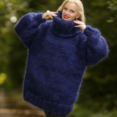 Big and heavy hand knitted sweater in deep blue, size S, M, L, XL