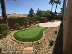 Putting green in the back yard! Gotta love how versatile artificial turf can be. Our supplier has a wide range of products to chose from - not just putting greens and basic turf. Colorful options are availabel too!